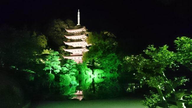 国宝「瑠璃光寺五重塔」のライトアップ