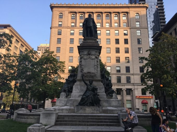 montreal downtown statue