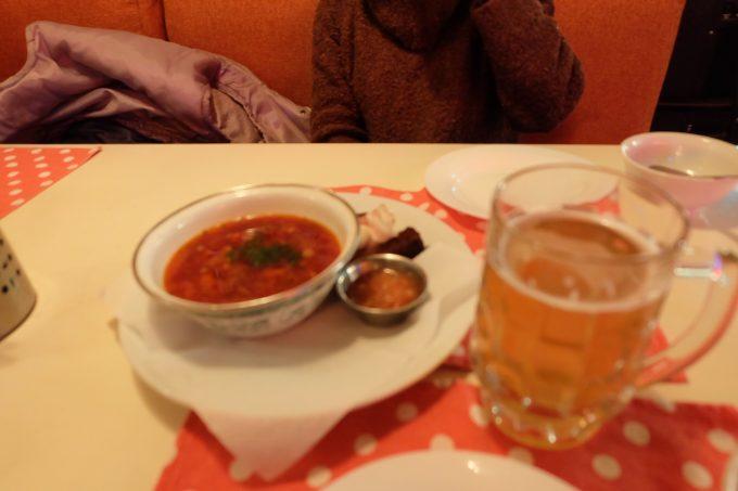 ボルシチとビール